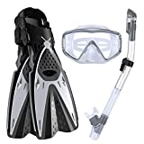 Three-Piece Snorkeling Set Diving Set Diving Goggles, Snorkel, Flippers Swimming Diving Equipment...