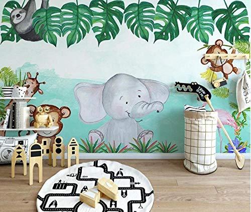 Pseaexz 3D Poster Kunstdrucke Kinderzimmer Tapete Wandbild Karikatur Tier Elefant Affe Giraffe 400X280 Cm (Wxh) Diy Plakat Foto Kunst Wandaufkleber Benutzerdefinierte Home Hintergrund Dekoration Spie