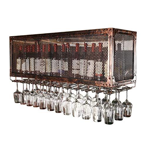 WLABCD Estante de Vino, Montado en la Pared, Bar, Restaurante, Tetera de Botella de Vino, Colgada de Techo S Bronce Estilo Vintage Bar Rack Goblet Stemware Racks Soporte de Alenamiento de Cuadrícula,