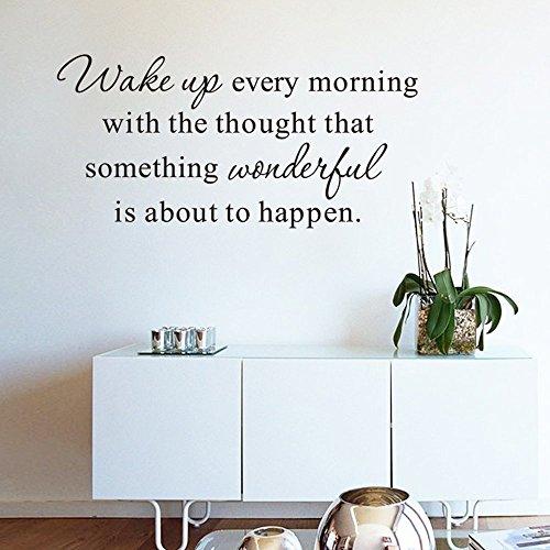 ufengke Inspirational Wake Up Every Morning Citazioni Adesivi Murali Lettere di Parole Motivazionali Stickers Murali per Camera da Letto Soggiorno Decorazione Murali da Parete