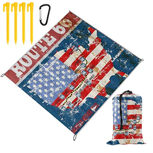 VORMOR foldable Picnic Blanket 145x150cm,Vintage U.S. Map Route 66 Retro American Flag Road Sign,Outdoor Beach Blankets Waterproof Sandproof Portable Mat for Hiking,Camping,Family Day Out,Travel