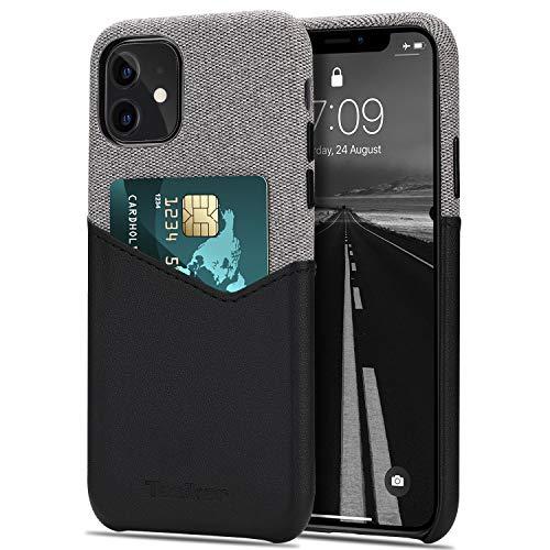 Tasikar Funda iPhone 11 Carcasa Cartera de Cuero y Tela con Tarjetero Estuche Compatible con iPhone 11 (Negro)