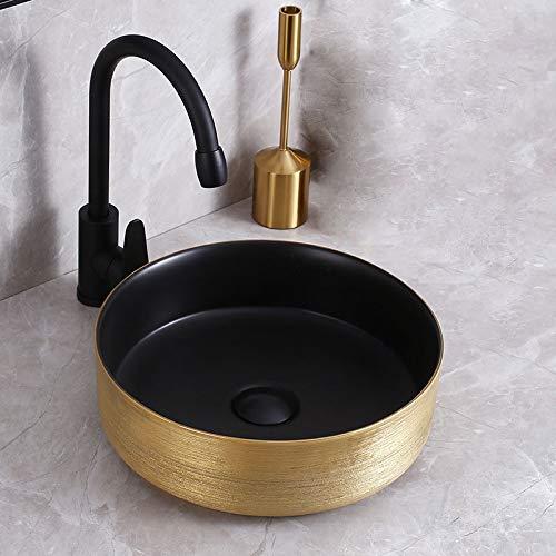 Lavabo de cerámica Lavabo redondo de porcelana sobre encimera Lavabo sobre encimera Lavabo Mueble bajo lavabo Estilo moderno 35 x 35 x 11,4 cm acabado dorado cepillado + negro