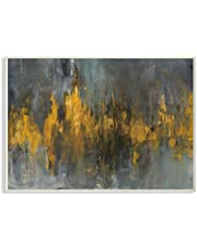 Stupell Industries Black and Gold Abstract Fire Oversized Wall Plaque Art, Proudly Made in USA