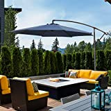 8. Klismos 10FT Patio Cantilever Hanging Umbrella 360° Rotation Outdoor Offset Market Umbrella with Crank &Cross Base(Navy Blue)