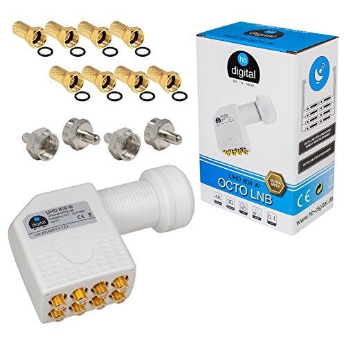 HB-DIGITAL Octo LNB LNC 8 Teilnehmer Direkt Full HD TV 3D 4K Weiß Weiss White + Kontakte vergoldet + Wetterschutz (ausziehbar) im Set mit dabei 8X F-Stecker vergoldet und 4X F-Abschlusswiderstand