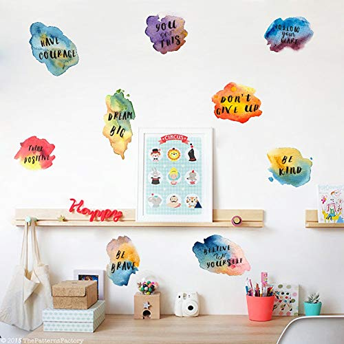 Watercolor Inspirational Quote Wall Decal, Motivational Lettering Sticker for Classroom Wall Decoration,Colorful Inspiring Sayings Decals Window Cling Bedroom Decor