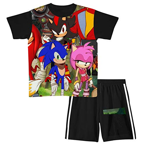 Teen boy clothing short sleeve T-shirt and short suit youth Black
