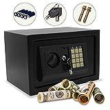 Hengda Caja Fuerte electrónica 31x20x20 cm para Oficina o Uso doméstico Caja de Seguridad para Montaje en Pared o Suelo