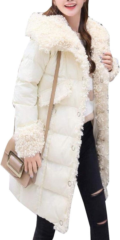 Maweisong Women's Puffer Lapel Fleece Linling Coats LongSleeves Down