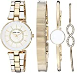 Anne Klein Women's AK/3286WTST Swarovski Crystal Accented Gold-Tone and White Watch and Bracelet Set