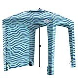 Qipi Beach Cabana - Easy to Set Up Canopy, Waterproof, Portable 6' x 6' Beach Shelter, Included Side Wall, Shade with UPF 50+ UV Protection, Ultimate Sun Umbrella - for Kids, Family - Balmy Waves