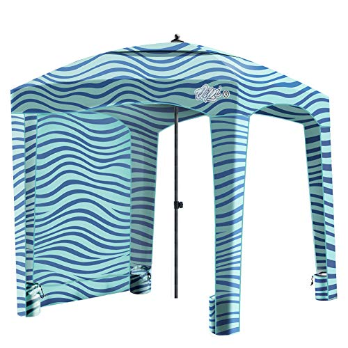 Qipi Beach Cabana - Easy to Set Up Canopy, Waterproof, Portable 6' x 6' Beach Shelter, Included Side Wall, Shade with UPF 50+ UV Protection, Ultimate Sun Umbrella - for Kids, Family - Sailor Stripes