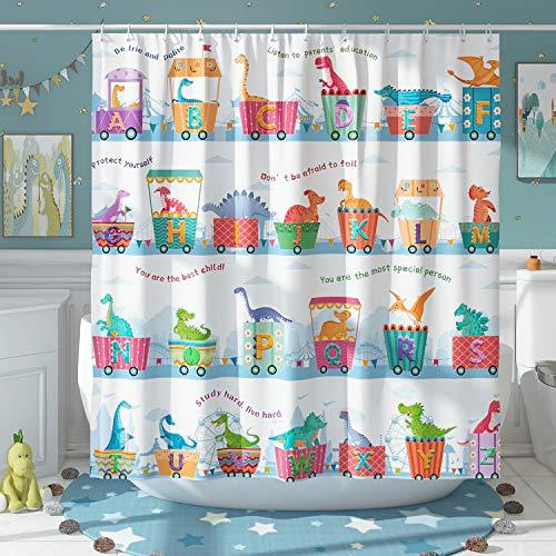 DESIHOM Niedlicher Dinosaurier-Duschvorhang für Kinder, Lernspielzeug, ABC-Alphabet, Duschvorhang, Cartoon-Tier, Polyester, wasserdicht, 183 x 183 cm