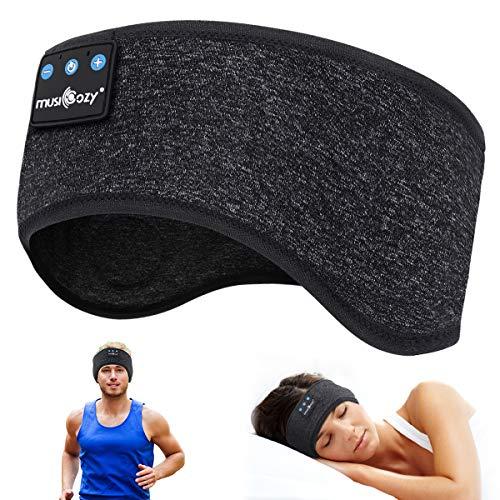 WU-MINGLU Bluetooth Headband Sleep Headphones, Wireless Music Sport Headbands Headsets Sleeping Headphone for Men,Women with Thin and Cool Fabric & Adjustable Earphones for Running, Yoga-Black