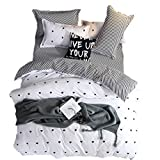 3pcs Cartoon Black Grey Striped Bedding Boys Girls Reversible Hidden Zipper Hearts Duvet Cover Queen (No Comforter)