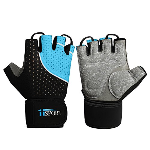 iiSPORT Weightlifting Gloves with Wrist Support, Anti-Slip Padded Workout Gloves for Men and Women, Best for Gym Bodybuilding Crossfit Cross Training Gloves - Blue L