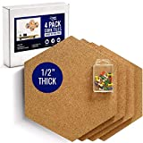 Premium Hexagon Cork Board Tiles - 1/2' Thick - Extra Large Cork Tiles 11.8' x 10.2' - Ultra Strength Self Adhesive Backing - 4 Pack- Bonus Push Pins