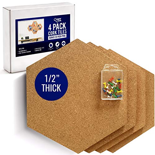 "Premium Hexagon Cork Board Tiles - 1/2"" Thick - Large Cork Tiles 11.8"" x 10.2"" - Bonus Push Pins - Extra Strength Self Adhesive Backing - 4 Pack"