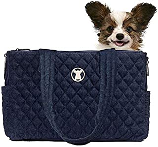 Miso Pup Shell Tote for use Interchangeable Base Pet Carrier (Shell Tote) (Shell Tote ONLY for USE with Base PET Carrier, Quilted Denim Blue)