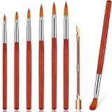 7 Pieces Acrylic Nail Brushes Set, Includes 6 Pieces Kolinsky Sable Nail Art Brush Oval Nail Painting Drawing Brush with Wood Handle and Metal Cuticle Pusher for Manicure Pedicure, Size 2/4/6/8/10/12