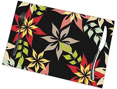 Sunwei firma Placemats voor eettafel set van 6,Placemats voor eettafel set van 6Seamless Pattern Vector Bloementafelkleed 45X30 CM