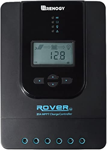 Renogy Rover 20 Amp 12V/24V DC Input MPPT Charge Controller Auto Parameter Adjustable LCD Display Solar Panel Regulat...