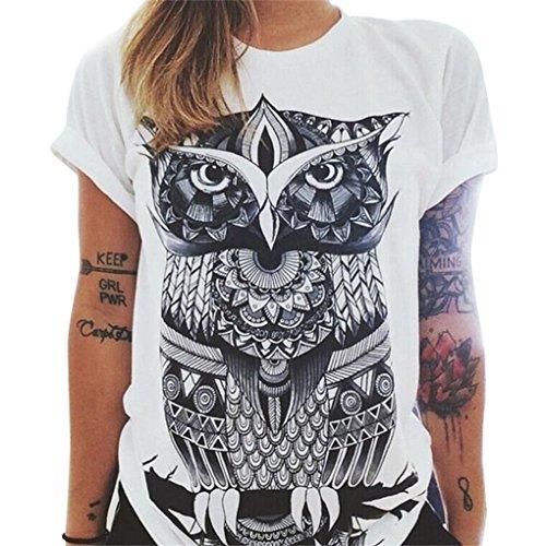QHGstore maglietta donne gufo lettere occhio maglietta della stampa allentata solido di colore girocollo a maniche corte NO.1 XL