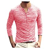 Muscle Long Sleeve Tops for Men Casual Button Down V Neck Slim Fit Henley Shirt Gym Athletic Workout Blouses Tops