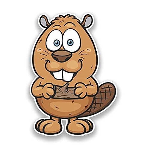 3 Pack - Cartoon Beaver Vinyl Stickers Animals - Sticker Graphic - Construction Toolbox, Hardhat, Lunchbox, Helmet, Mechanic, Luggage