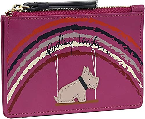 Radley 'Swinging on a Rainbow' Coin Purse in Smooth Cerise Leather