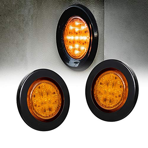 2pc 2.5 Amber Round Trailer LED Clearance Marker Lights [DOT FMVSS 108] [SAE P2] [Reflector Lens] [Grommet] [Flush-Mount] [Waterproof IP67] Marker Clearance Lights for Trailer Truck