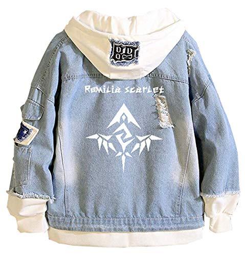 Mantel Anime Sword Art Online Sao Hoodie Denim Jacket Unisex Fiesta Kleidung Cosplay Jeansjacke Outwear Mäntel Übergangsmantel 2019 Herren Kleidung (Color : Blau 4, Size : L(Tische Größe))