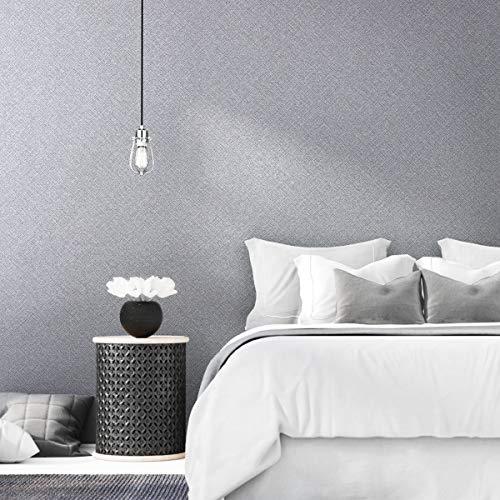 KINLO Verdickte Tapete Selbstklebend Wandtapete 60 * 500CM Grau (8 Typen - 21 Farben) Wandaufkleber wasserfest Tapeten Klebefolie Möbelaufkleber für Wohnzimmer und Schrank