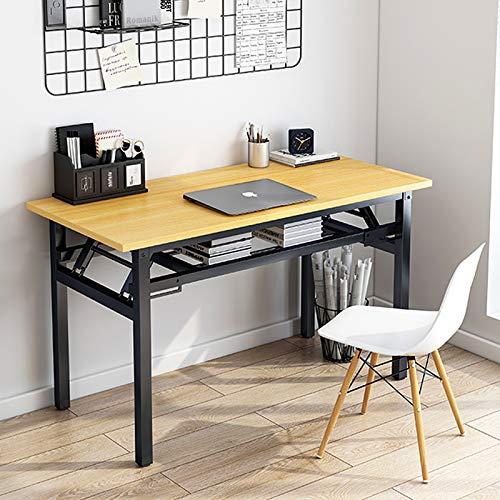 Insputer Klappbarer Laptoptisch, Studenten-Schreibtisch, 80 x 40 x 75 cm, kein Zusammenbau erforderlich, brauner Klapptisch mit verstellbaren Beinen für Zuhause, Büro, Schule