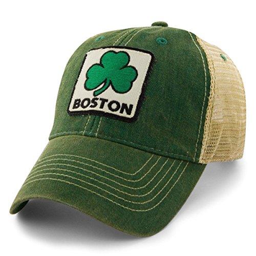 Chowdaheadz Boston Shamrock Patch Dirty Water Mesh Trucker Hat - Green
