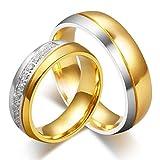 ANAZOZ Frauen Ring Titan 18K Vergoldet Hochzeitsringe Trauring Ehering Modeschmuck Partnerringe für Paar Größe 54 (17.2)