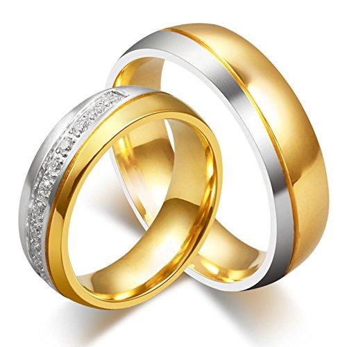 ROMQUEEN JOYERÍA 2 Piezas Anillo de 6MM Alianzas de Plata de Ley Pareja Anillos para Compromiso Anillo Mujer/Hombre de Oro Y Plata(la Talla Mujer:15 & Hombre:30)