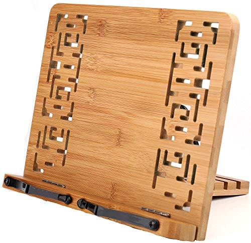 Yomiro Support de Livre en Bambou, Porte-Livre avec 2 Supports de Page en Métal, Support pliable et réglable, pour Ipad/ Tablette/ Livres de Cuisine/ Support de Document de Bureau(Évider)