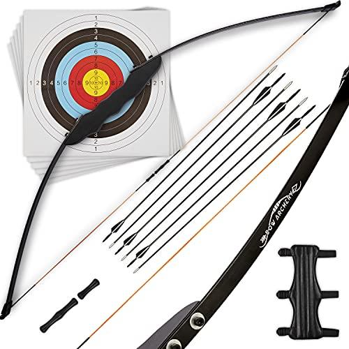 Bow Archery Pfeil und Bogen Set Erwachsene [Sportbogen, Recurvebogen, 30 LBS] Bogenschießen Set Zielscheibe für Anfänger ab 15 | Jetzt Losschießen