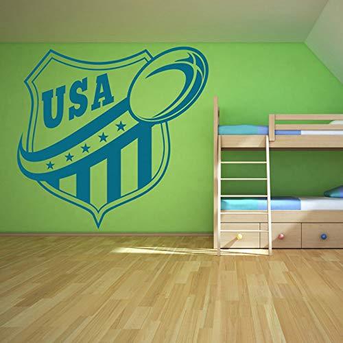 YuanMinglu American Football Wandaufkleber Kinderzimmer Art Vinyl Aufkleber Wandbild Blau 86x82cm