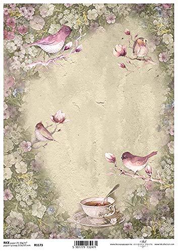 Roze Vogels en Groene Bloemen en Thee Beker Bloem Decoupage Rijstpapier R1166-1 x A4 Vel van decoupage Rijstpapier