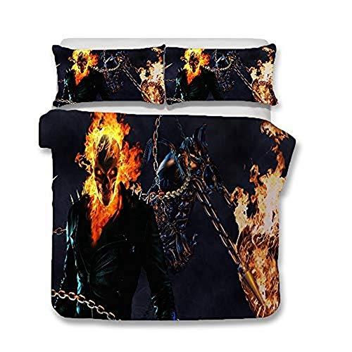 WTTING Ghost Rider - Juego de cama y fundas de almohada, impresión digital 3D Ghost Rider, cama individual/doble, microfibra con cremallera (135 x 200 cm)