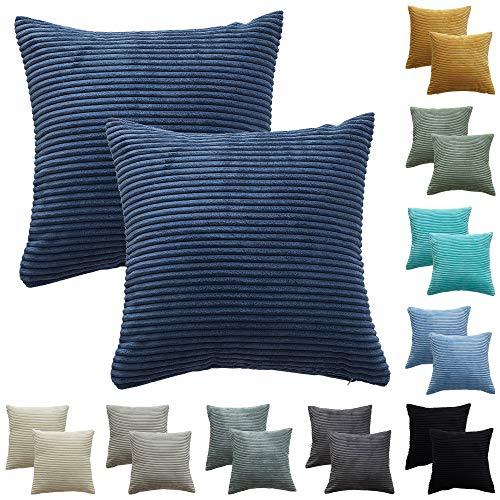 CALIYO Funda de cojín - Fundas de almohada para cojines decorativos [50x50 cm - Azul (azul tinta)]