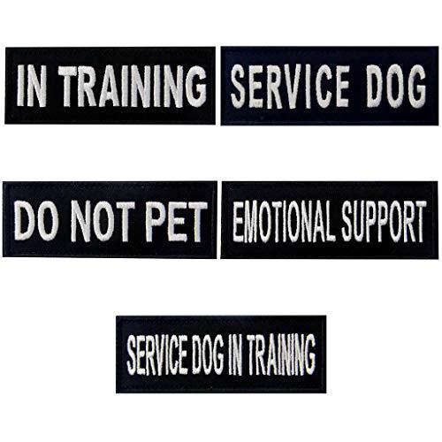 Service Dog Do Not Pet in Training Emotional Support Vest / Harnesses Morale Tactical Patch Embroidered Badge Fastener Hook & Loop Emblem, 1.5 X 4 Inch, 5 Pcs