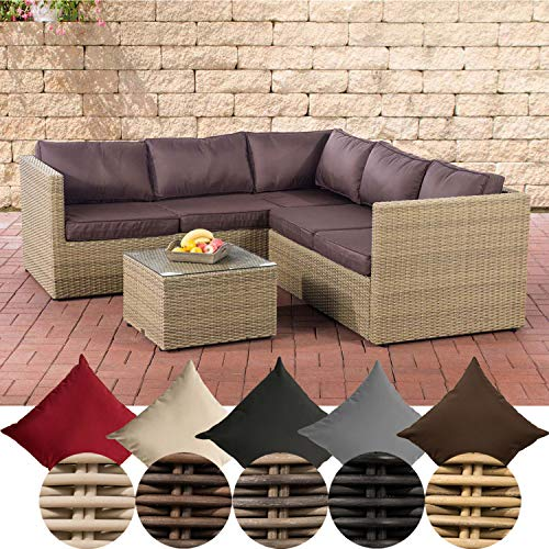 CLP Genero Poly-Rattan Lounge Set 5 mm Garden Set with 5 Seats Complete Set: 3 Seater Sofa + 2 Seater Sofa + Table, Colour: Natura, Upholstery Colour: Terracotta Brown