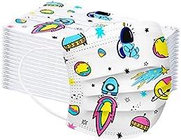 Tonsee 50 Pièces Enfant Masque Tissu Non-tissé 3 Plis Protection Faciale Jetable Antipoussière Doux Respirant Haute...