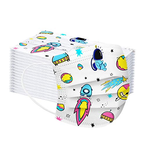 CHENSEN 50PCS Kids Disposable Face Mask 3 Layers Breathable Non-Woven Cloth Safety Protective Masks Childrens School Outdoor (50 Pack T01)