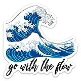 """Stickeroonie Go with The Flow Japanese Kanagawa Wave Vinyl Sticker, Cool Weather & Water Resistant Sticker, 4"""" x 4"""" Size"""