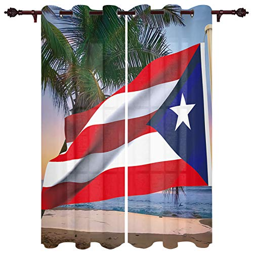 Window Curtains with Grommet Top Romantic and Elegant Puerto Rico Flag Star Window Panels Drapes Coastal Beach Palm Tree for Bedroom Living Room Kitchen Decor